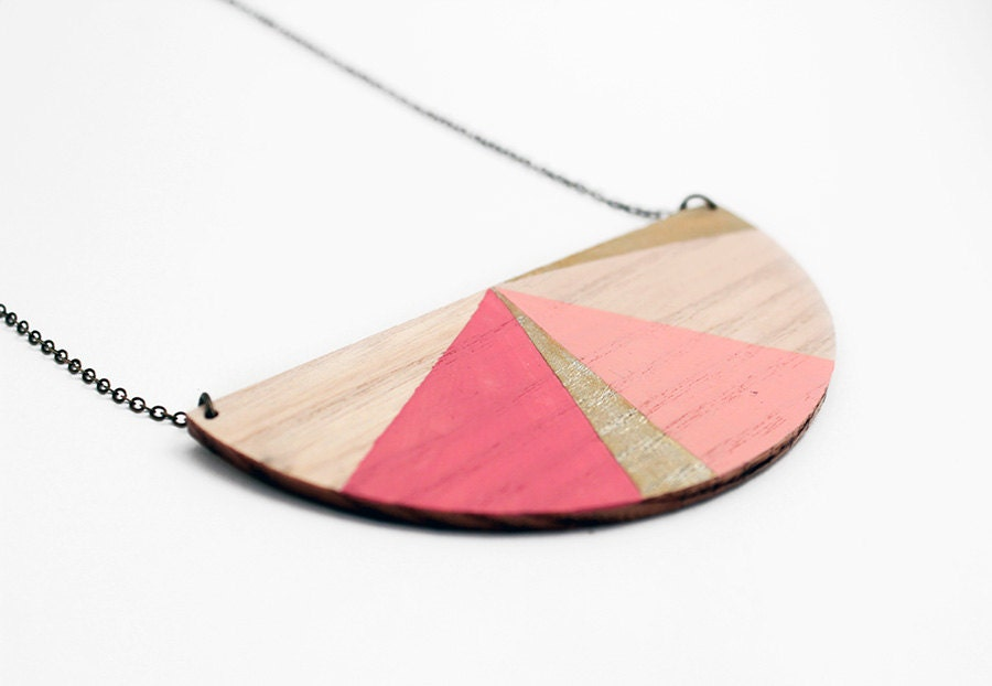 Half circle geometric wooden necklace - natural wood, pale rose, gold and pink - minimalist, modern jewelry - color blocking - TheiaDesign