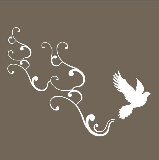 small bird flying with swirls vinyl wall art decal by