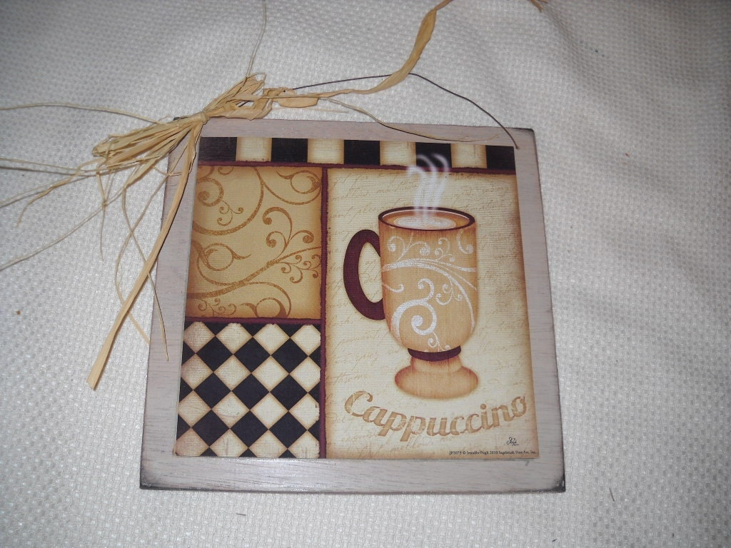 Wooden Kitchen Wall Decor : Items similar to cappucino coffee mug cafe wooden kitchen