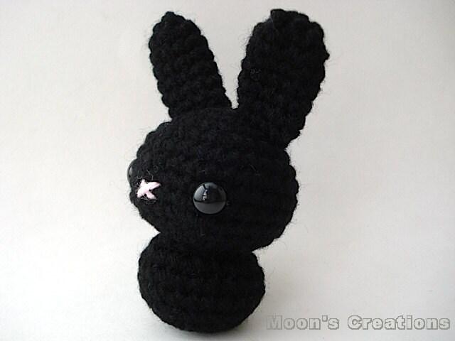 Amigurumi Doll Hair Bun : Black Moon Bun Amigurumi Bunny Rabbit Doll with by ...