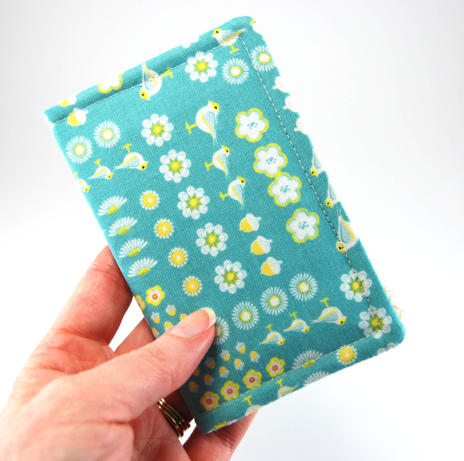 Business Card Holder, Fabric Card Case, Gift Card, Card Carrier, Credit Card Holder, aqua birds daisies acorns - ChantelandMe