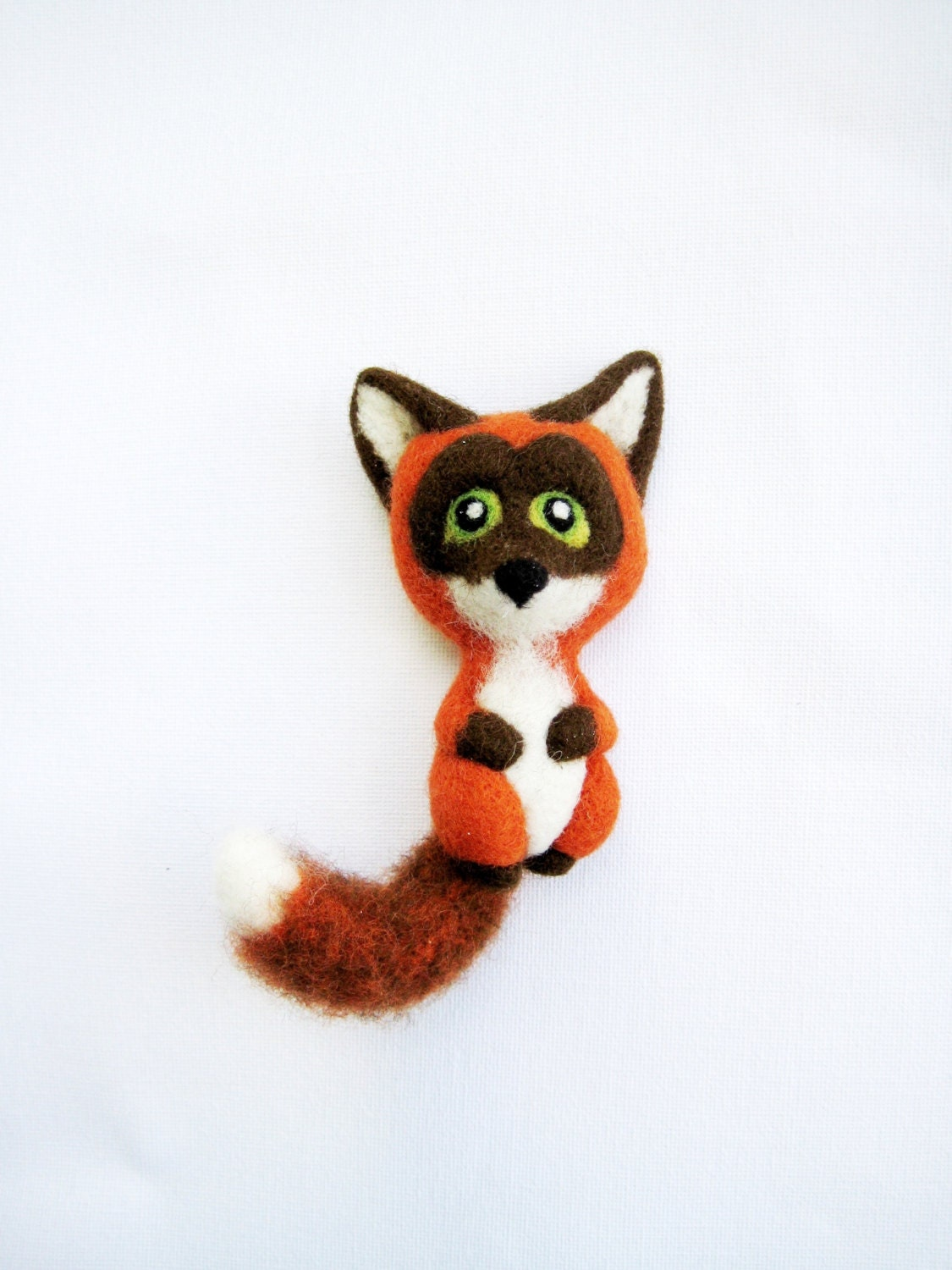Fox Brooch Orange Brown And White Animal By Feltedcreatures