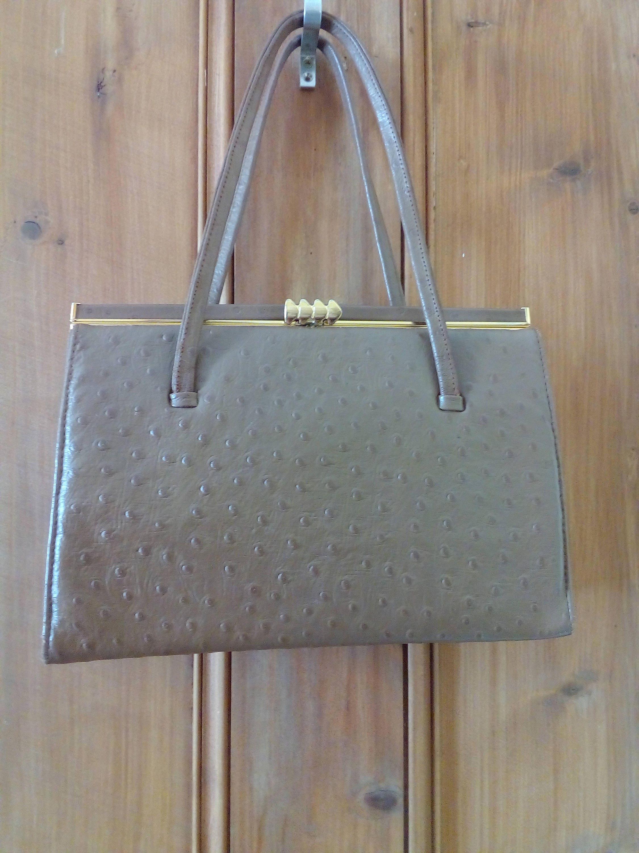 Vintage faux ostrich maclaren handbag 1950s60s tan