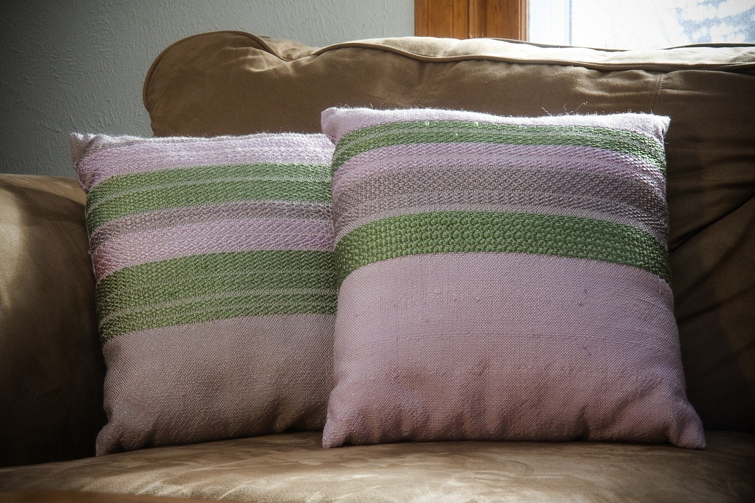 Lavender and Green Wool and Rayon Pillow Set - Hand Woven - mariehelenecreations