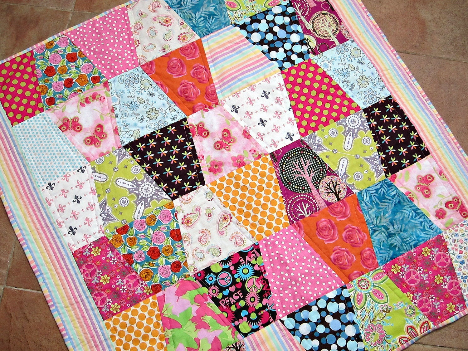 RESERVED FOR DIANE Baby Girl Crib Quilt Bright Colors