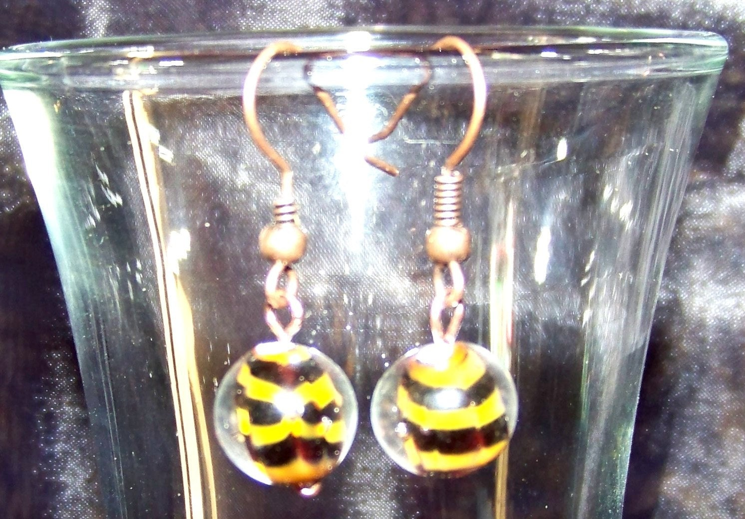 Sale - Copper and Black Stripe Lampwork Earrings