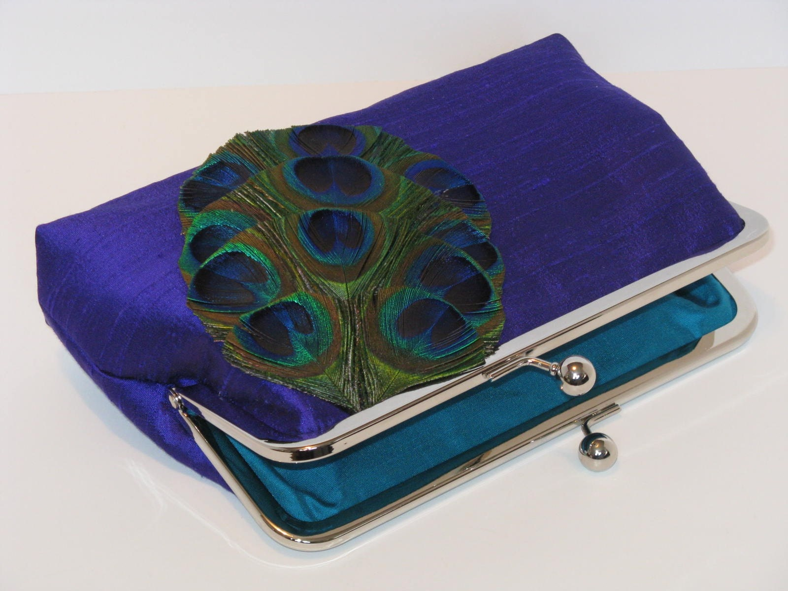 Peacock Feather Silk Dupioni Clutch Purse In Blue Violet
