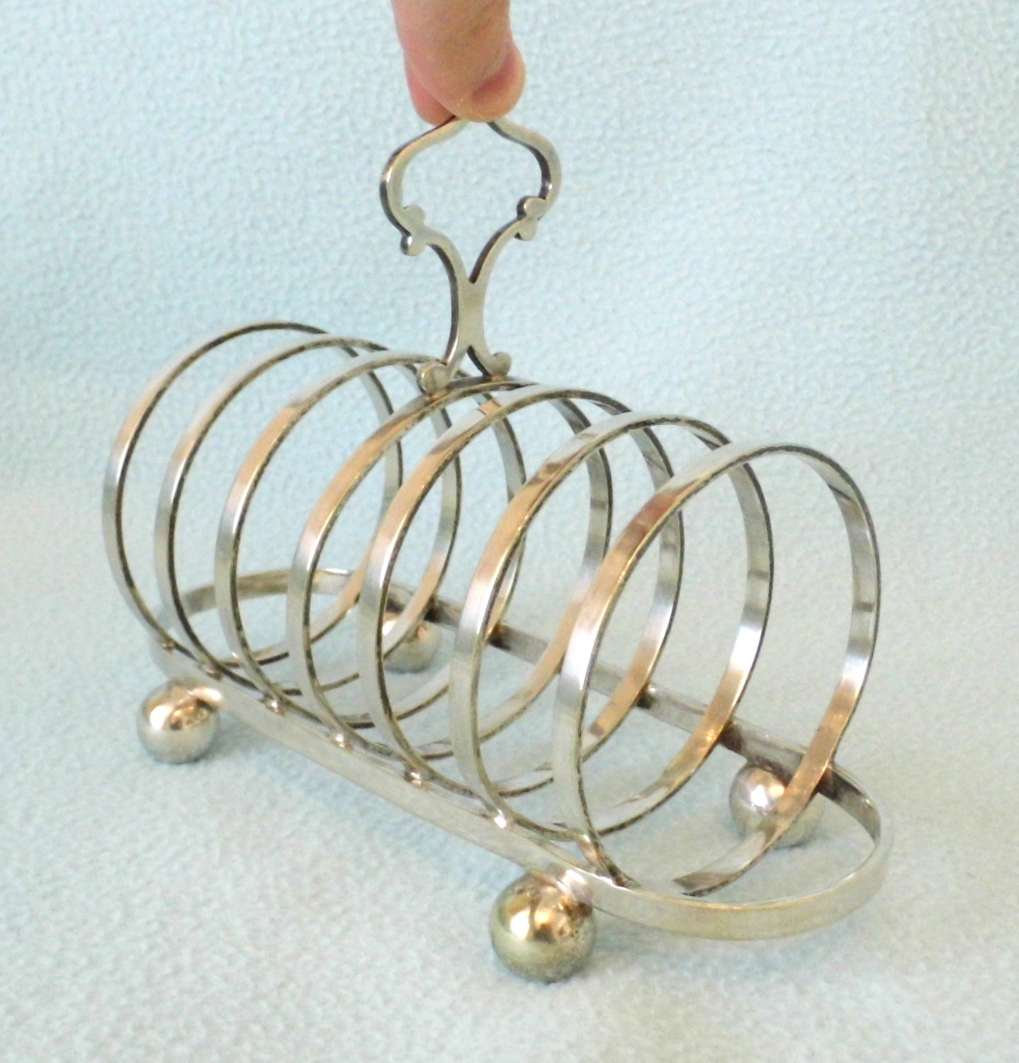Antique Silver Plated Toast Rack, Ball Feet, Rounded Circular Slots, Lovely Elegant Looking Piece, Victorian - AToasttothePast