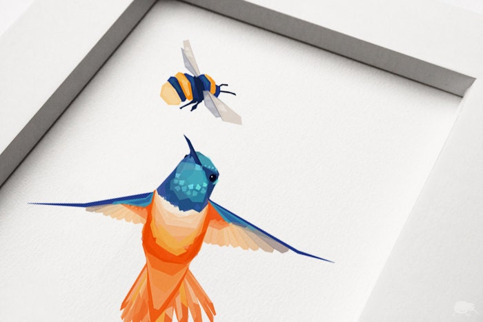 Geometric illustration, Hummingbird and Bumblebee, Animal print, Original illustration - TinyKiwiCreations