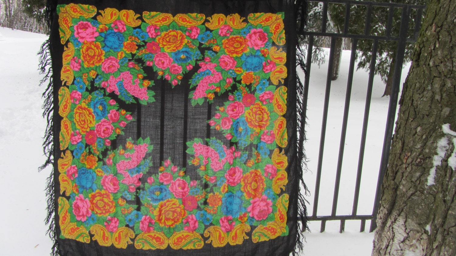 Pure Wool Vintage Black Ukrainian Floral Scarf, Russian Floral Scarf, black shaw