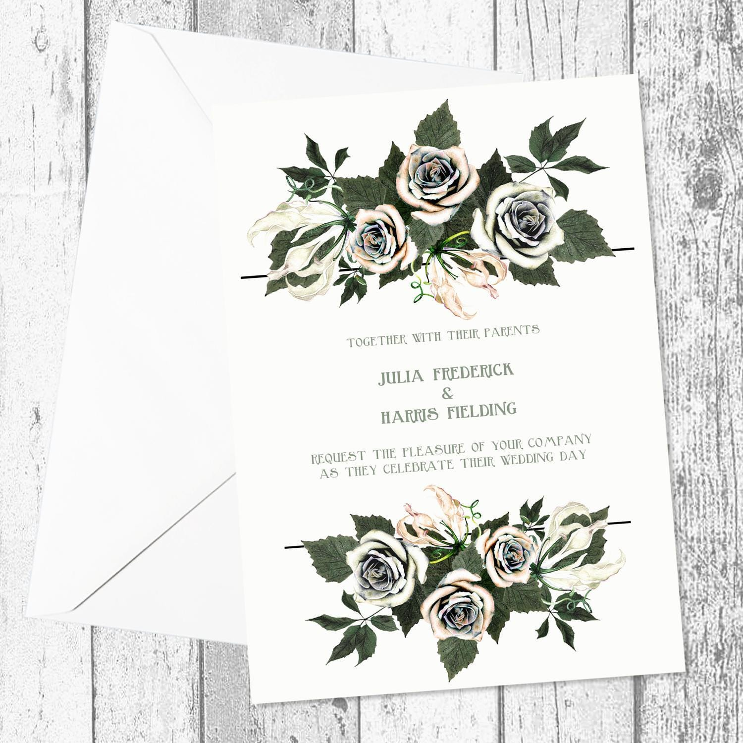 Champagne and Peach Floral Greenery Wedding Invitations A5 Flat Printed Single and Double Sided with Envelopes and as Printable Digital File