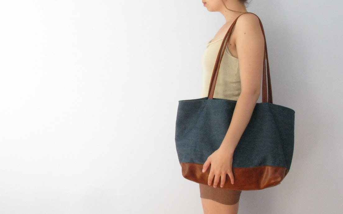 arles market tote in indigo denim leather by renneslechateau from etsy.com