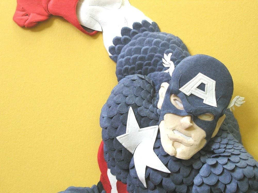 Captain America---Paper sculpture