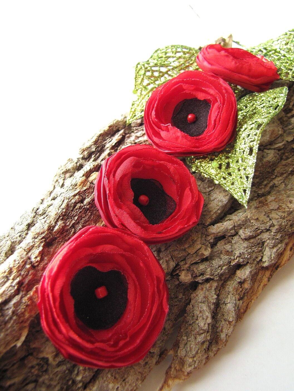Маленькие и толстые ... ручной работы шить на ткани цветка аппликации (4шт) - крошечные красные маки