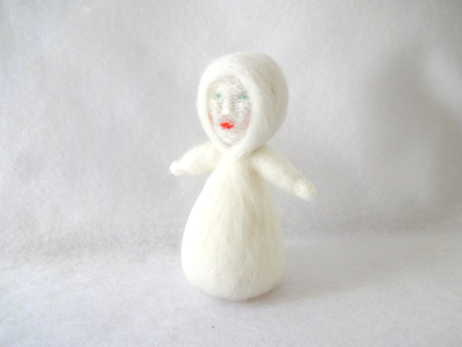 Snow Princess - needle felted storytelling puppet doll  - in stock and ready to ship - EarthyMamaGoods