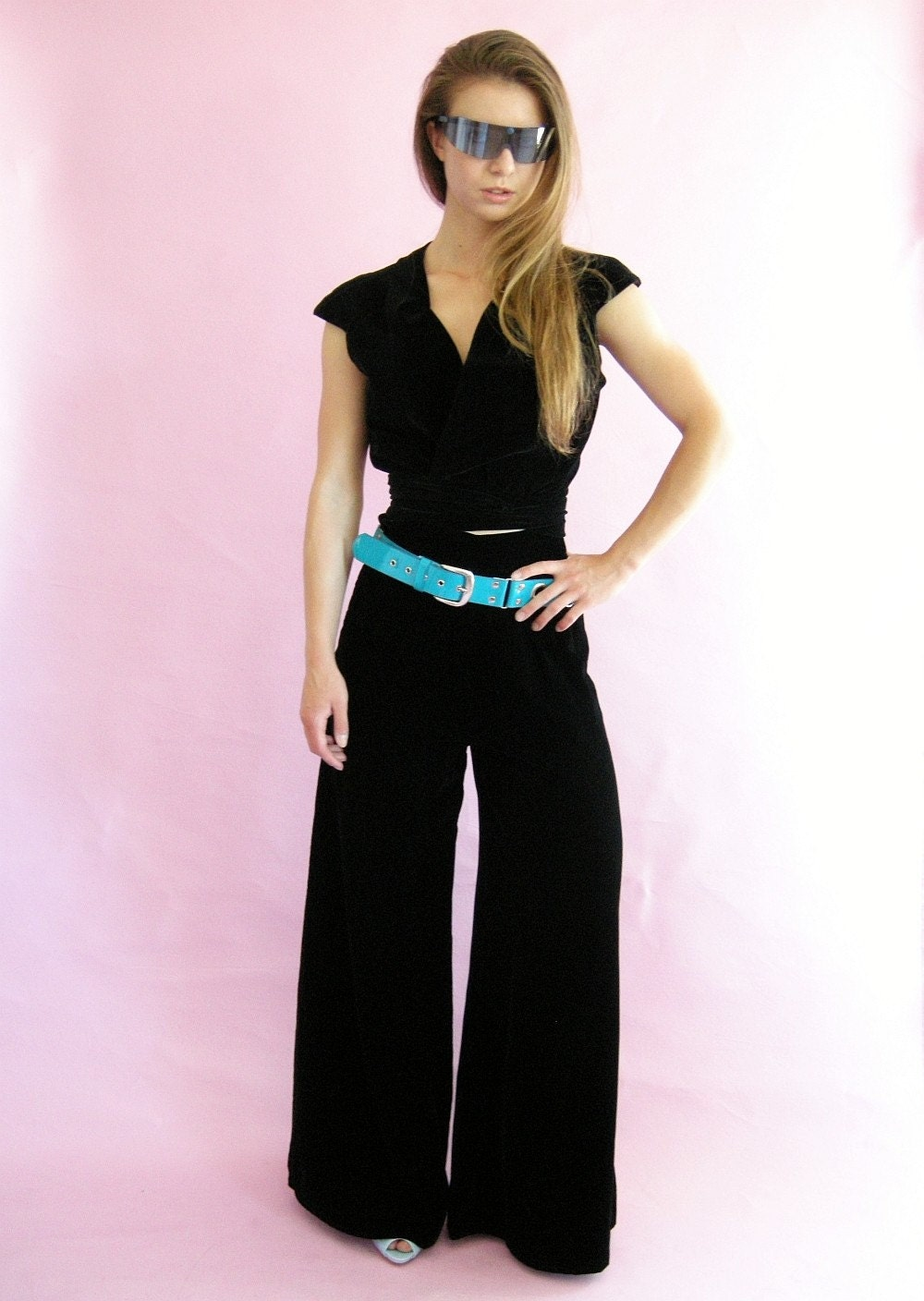 Black Velvet Vintage 70s Wide Legged Pallazo Pants by empressjade