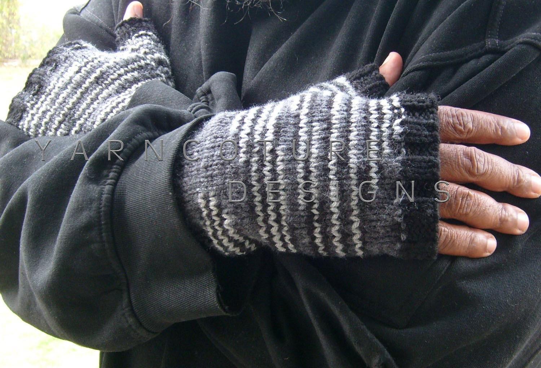 Shades Of GRAY / Fingerless Gloves For Men - yarncoture