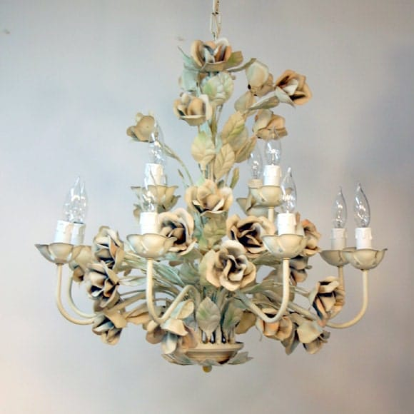 Italian Tole Chandelier Shabby Rose Light By