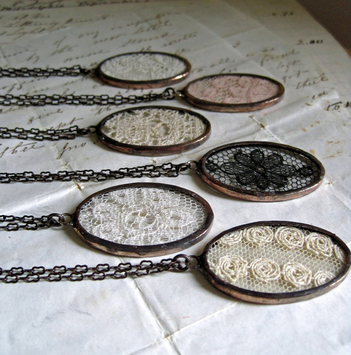 Lace Jewelry Necklace Gift Set for Wedding Vintage Lace - ThatOldBlueHouse2