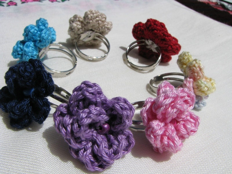 Flower rings in turquoise, navy blue, pink, purple,beige, red, colorful pastel