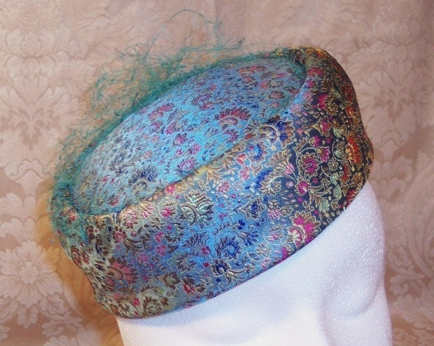 SOMETHING BLUE--VINTAGE BLUE SILK FLORAL BROCADE PILLBOX HAT