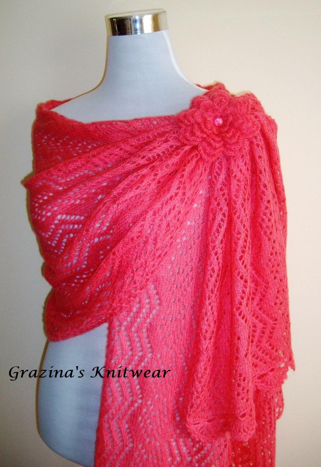 Hand Knit Pink Lipstick color Luxury Mohair Bridal Wedding  Scarf  Shawl  Wrap Bridal  Bridesmaid  Accessories Lace Knitted Shawl Wrap