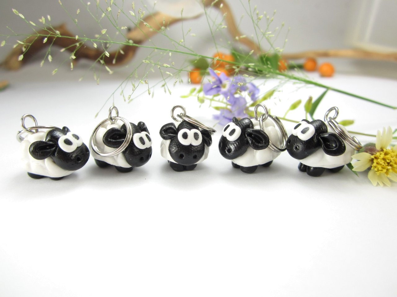 Cute Sheep Stitch Markers Set of 5 polymer clay by beadpassion
