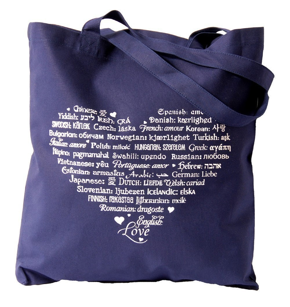 LOVE Languages - Tote Bag - White on Navy