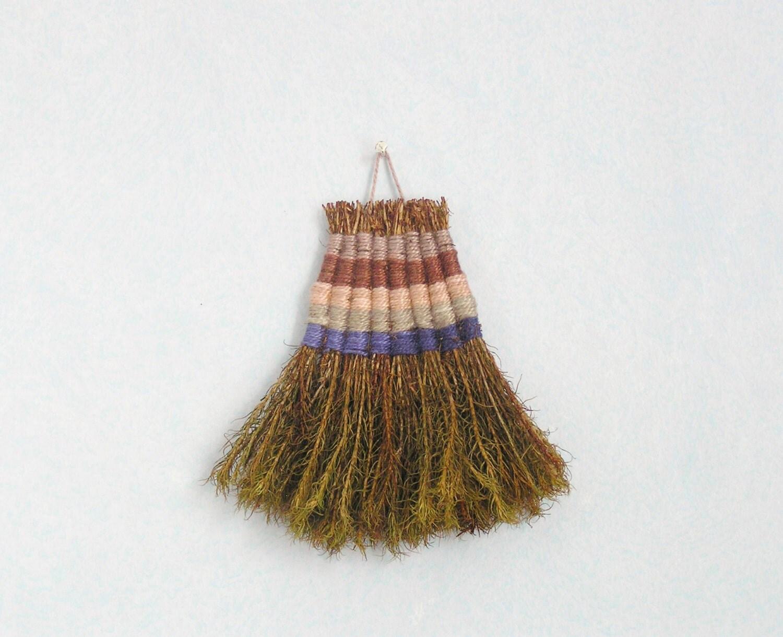 moss broom -   blue beige brown  striped - handmade moss brush - house warming gift