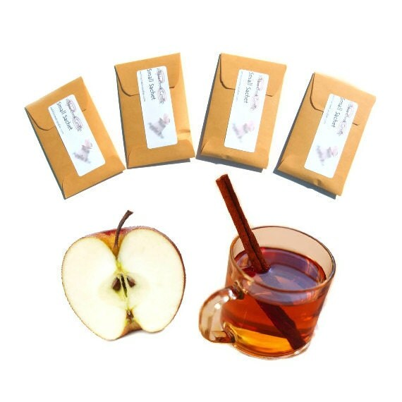 4 Spiced Cider Scented Sachets - Autumn Wedding Favors - Fall Party Apple Favors - Custom Color - May Be Personalized - pebblecreekcandles