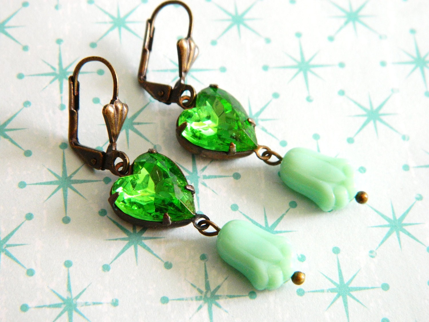 St Patricks Day Earrings Vintage Green Peridot Hearts Mint Deco Tulips - Irish Love