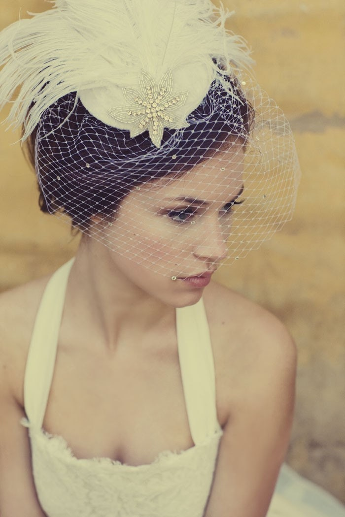 White Feather Birdcage Bridal Hat w/ Crystal Veil and Deco Star - by satanica on Etsy from etsy.com