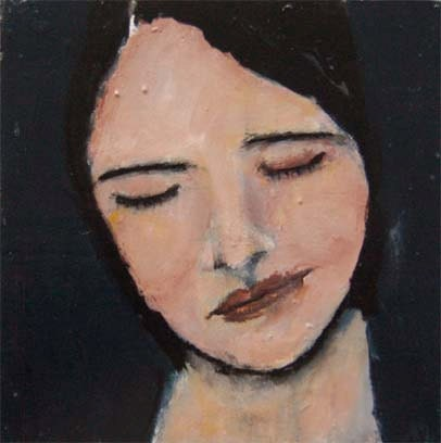 Acrylic Portrait Painting Woman with eyes closed 6x6 by ...
