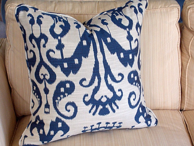 Sassari Ikat Cushion - Navy/Natural