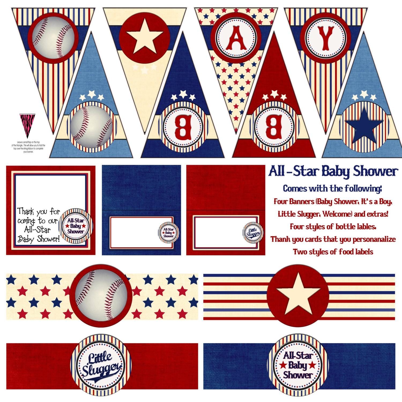 printable all star baseball baby shower decoration mega pack instant