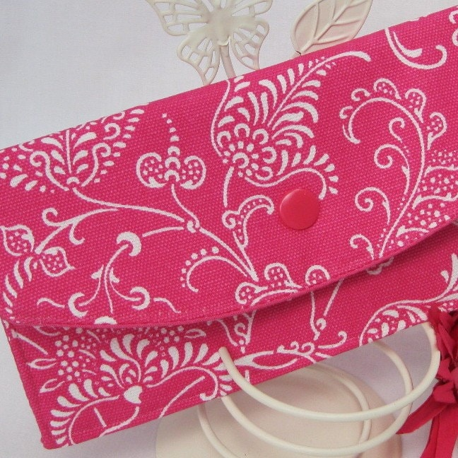 Clutch Wallet - Pink Raspberry Paisley