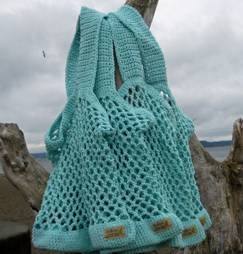 Crochet Beach Bag : Crochet Beach Bag in Eggshell Blue Crochet Market Bags by SkyBox