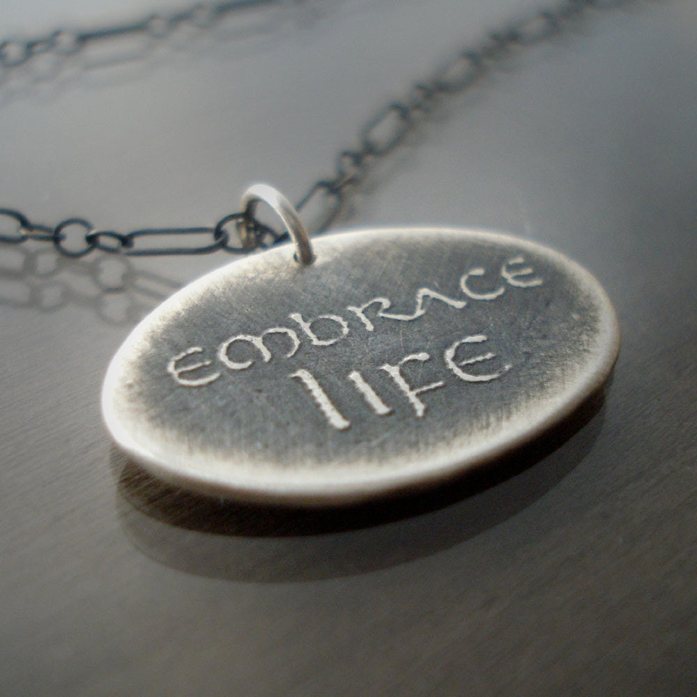 Etched Silver Embrace Life Necklace