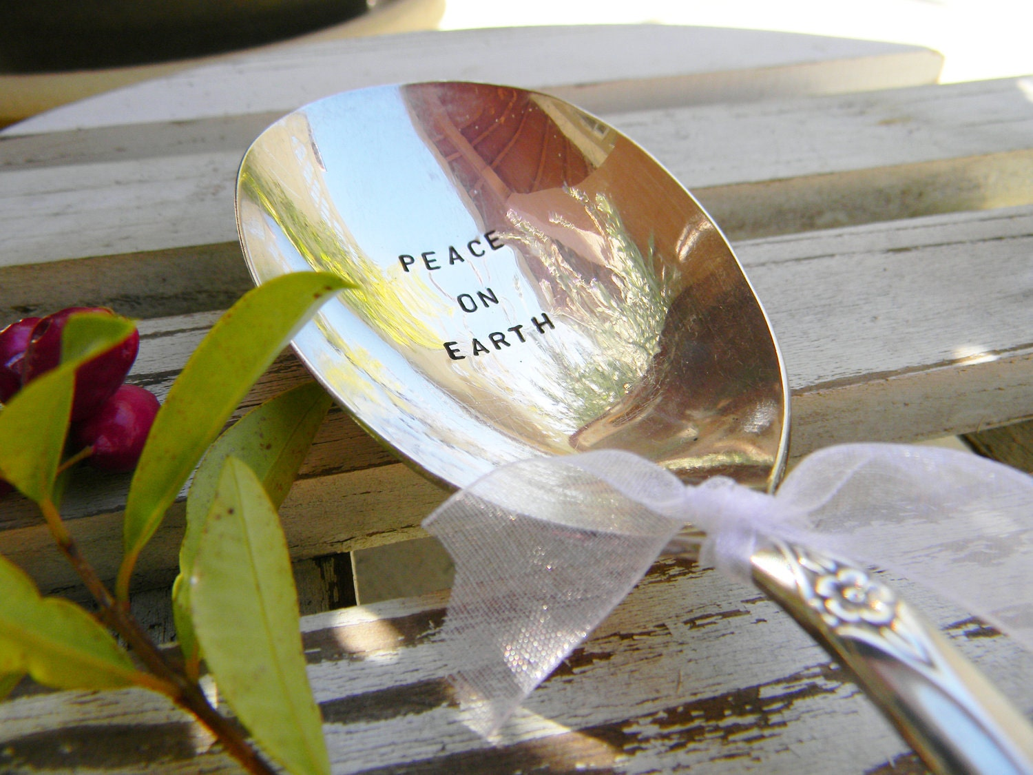 Hand Stamped Holiday Serving Spoon Peace On Earth