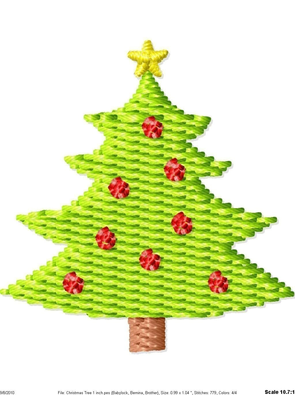 Christmas Tree Machine Embroidery Mini Design - SimplySweetEmbroider