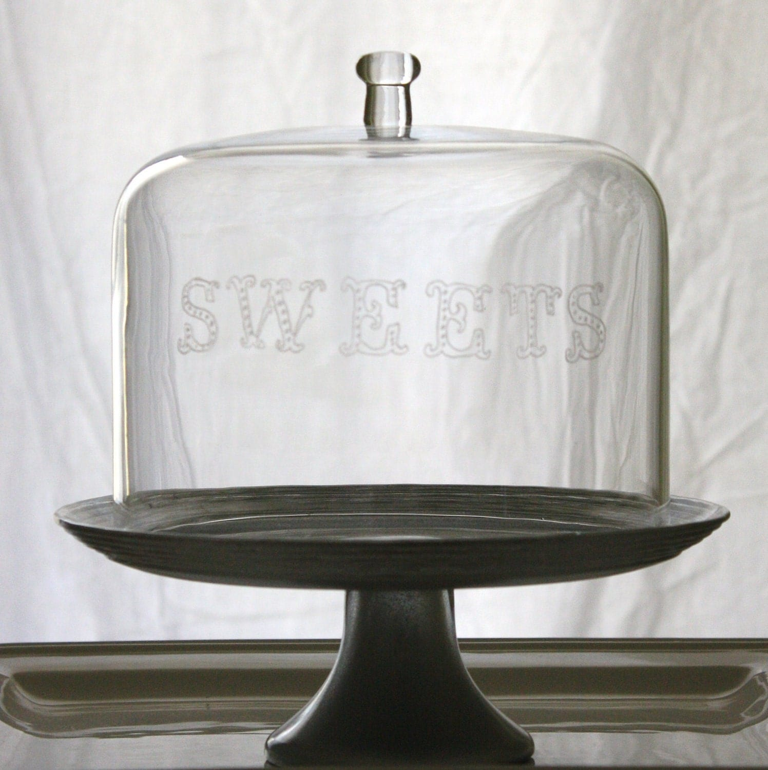 Etched Glass Cake Stand-