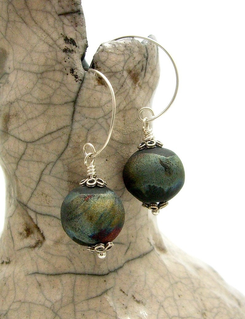Raku Beads and Sterling Silver Earrings Raku Fired Ceramic Jewelry by MAKUstudio