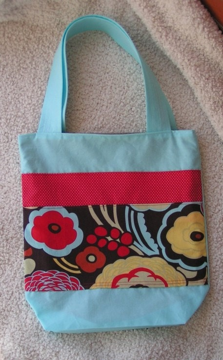 Aqua and Chocolate Tote