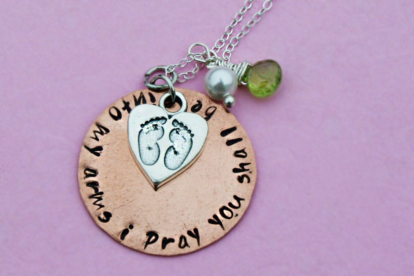 Infertility Mother Hope Hand Stamped Custom Personalized Charm Necklace by Three Little Pixies Boutique