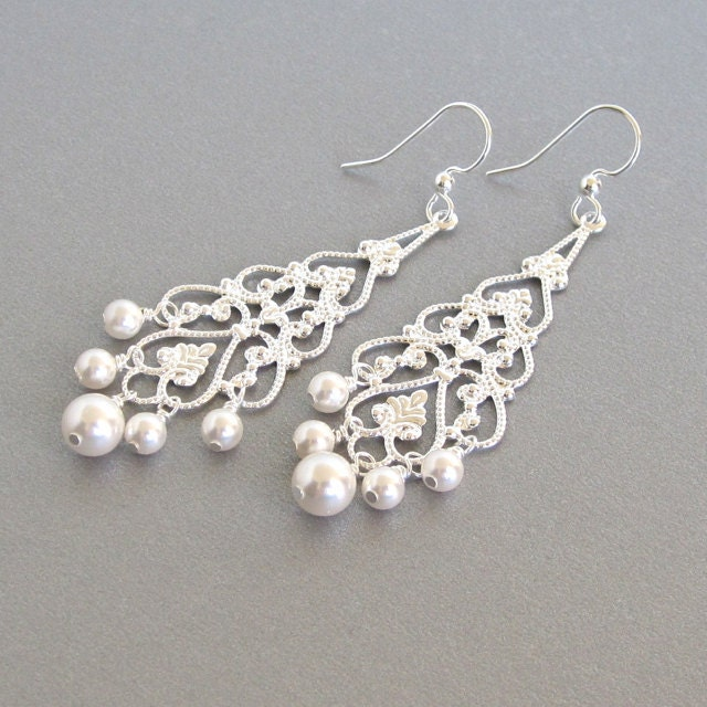 Bridal chandelier earrings silver filigree pearl dangle