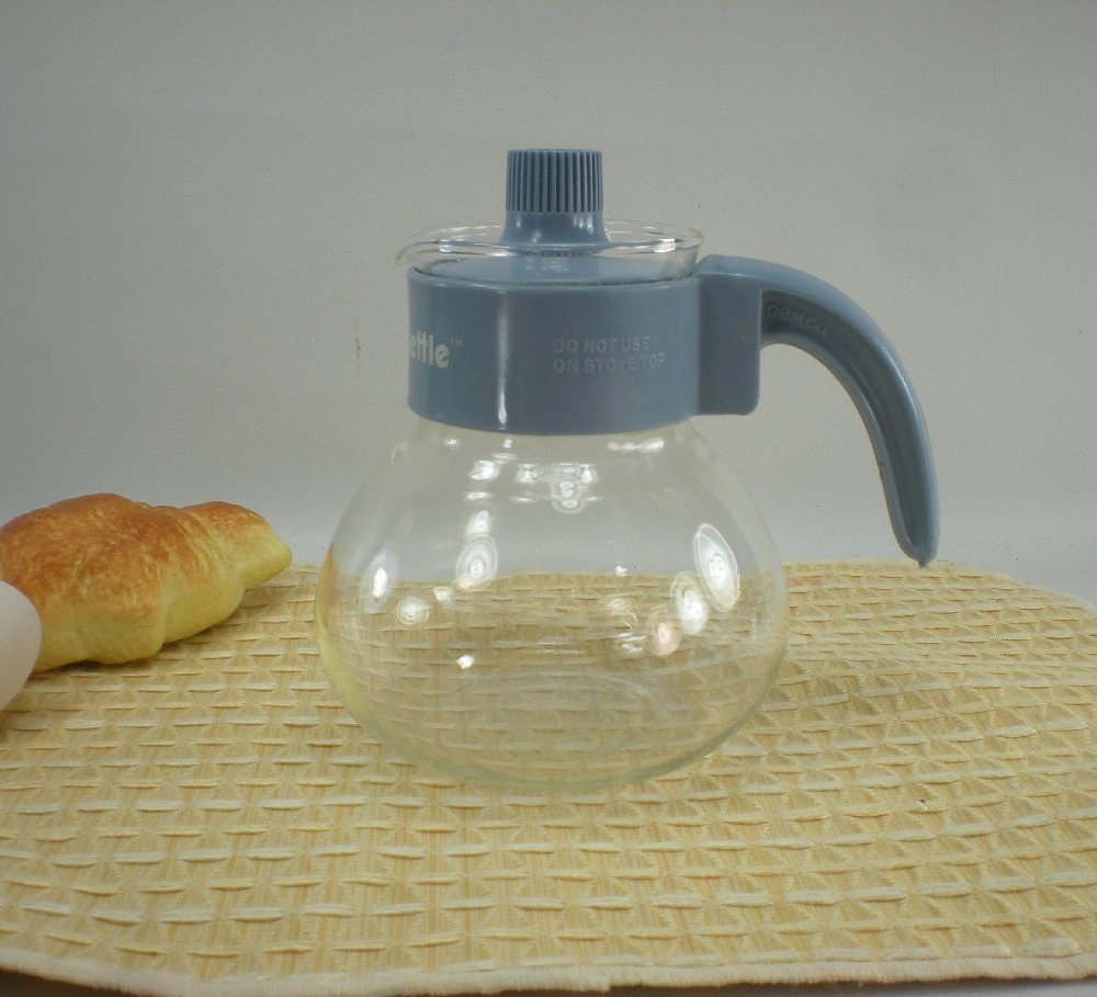 Dutch Oven Crock Pot Gemco Micro Kettle 3 Cup Glass Tea Pot Blue by oldetymestore