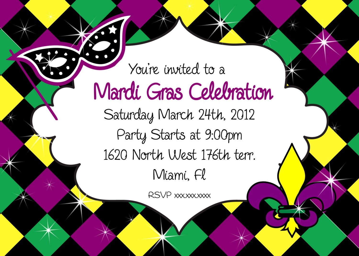 Sassy image regarding free printable mardi gras invitations