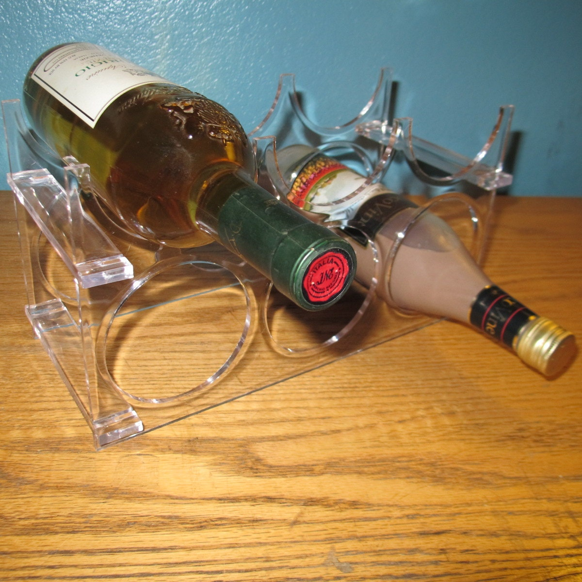 Vintage Clear Lucite Wine Rack