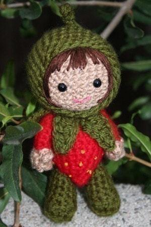 Crochet Pattern- Ruby in a strawberry costume amigurumi doll