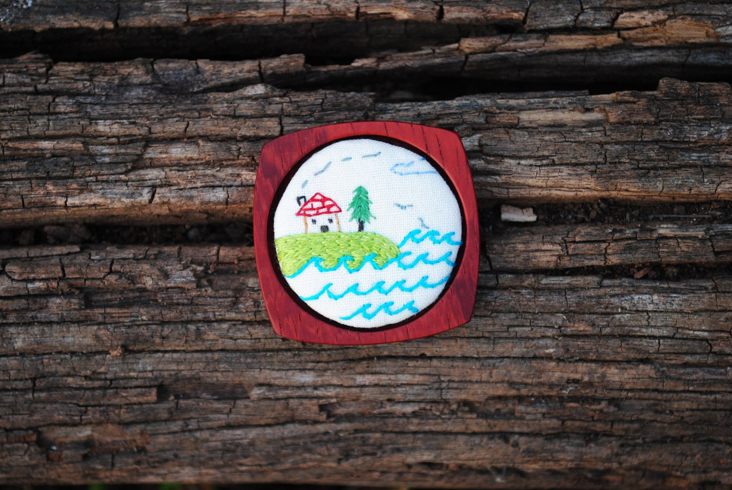 Hand embroidered house on a hill brooch